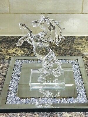 Crystal Glass Horse Animal Ornament With Tray Home Decor Gift Bling • 35£