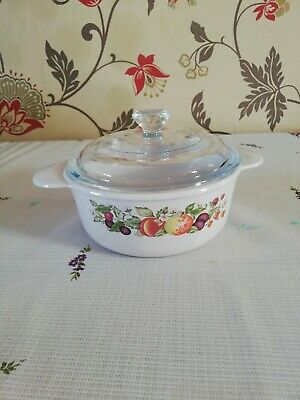Fresh Fruit Pattern Small Casserole Dish With Lid By Corning  • 5.50£