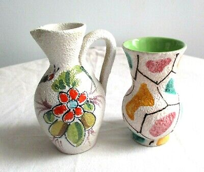 Vintage 1950s Italian Pottery White Textured Abstract Butterfly Small Vase & Jug • 3.50£