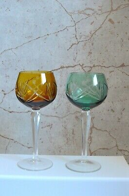 BOHEMIAN Cut To Clear Pair Of Colourful Wine/hock Glasses, Beautiful • 19.95£
