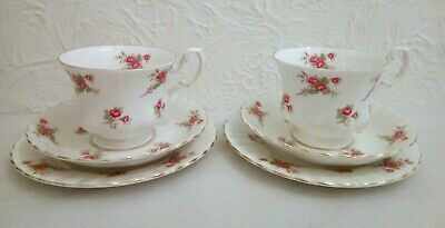 Pair Of Richmond China Rose Time Trios Cups Saucers & Side Plates • 17.99£