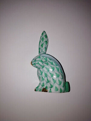 Herend Porcelain Green Fish Net Pattern Rabbit Excellent Condition One Ear Up • 49.99£