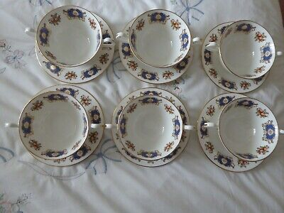 Royal Sutherland Bone China 6 X Double Handle Cups And Saucers • 10£