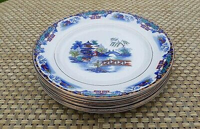 Burgess Ware Rare Willow Pattern  6 X 8  Side Plates - Excellent Condition • 44.99£
