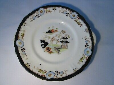 Antique Hand-Painted Porcelain Plate With Chinoiserie Pattern & Black Border. • 5£