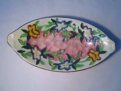 Vintage Maling Lustre Oval Dish With Embossed And Hand-Painted Flowers • 5£