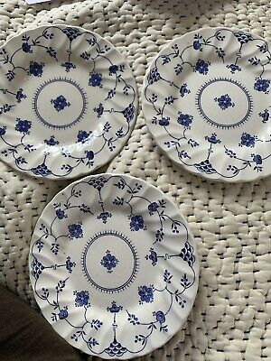 Staffordshire 3X  Finlandia Blue And White Side Plates 1982 Vintage • 14£