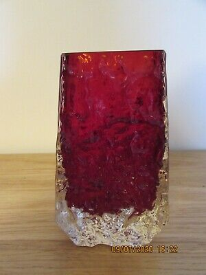 Whitefriars Glass Bark Pattern Coffin Vase In Ruby Red • 45£