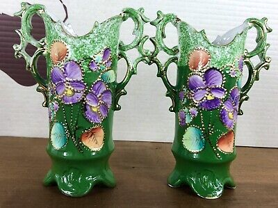 Pair Early Victorian Green Floral Painted Insert With Gilt  Handled Vases • 25£