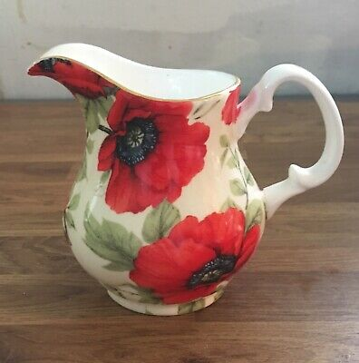 Staffordshire English Chintz Collection Cecilly Poppy Design Creamer Small Jug • 12.99£