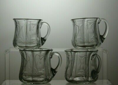 Vintage Etched Glass Cups Set Of 4 • 19.99£