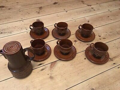 Vintage Beswick Zorba Coffee Set 6 Cups & Saucers 1 Coffee Pot In Brown (P01) • 45£