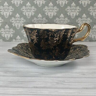 Royal Stuart Harlequin Floral Cup And Saucer Black And Gold • 22.50£