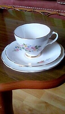 Dorchester China Trio Teacup Saucer And Side Plate Features Colourful Flowers. • 4.30£