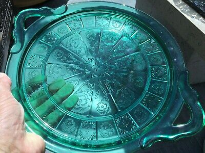 Vintage 1 JEANNETTE Pressed GLASS TEAL Doric And Pansy Cake Plate SANDWICH TRAY • 25£