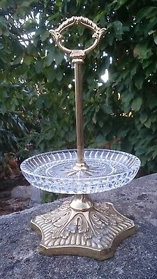 Antique French Baccarat Cut Glass & Ormolu Stand One Tier Level Sweets Stand  • 100£