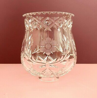 Vintage Clear Crystal Floral Cut Bell Lampshade Shade • 30£