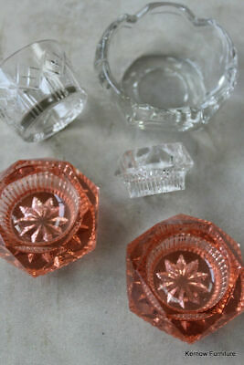 Vintage Glass Pots Pink & Clear Small Bowls • 14£