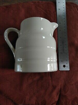 Vintage Jug. Cream Mould Formed Pottery. 5  Tall • 0.99£