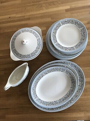 Vintage J+ G Meakin Sol 22 Piece Dinner Set Blue White • 15£