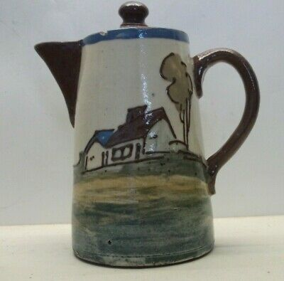 Collard Honiton Early Hot Water/Coffee Pot Tube Lined Cottage With Motto • 42£
