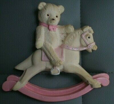 Teddy On A Rocking Horse Figure, With Hook For Wall Mounting • 2.99£