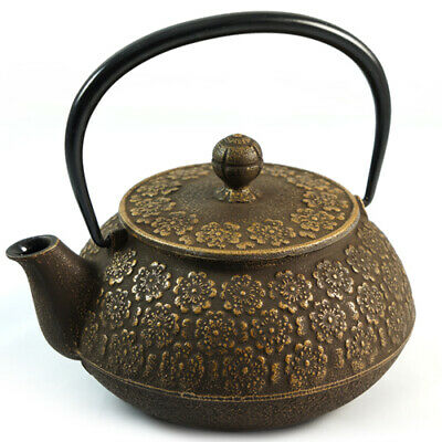 Japanese Cast Iron Teapot - Cherry Blossom Relief In Gold - 650ml | Iwachu • 174.95£