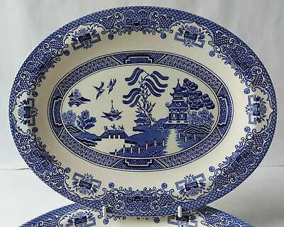 Willow Pattern Vintage Set Of 2 Blue & White Oval Serving Plates 29.3cm • 15.99£
