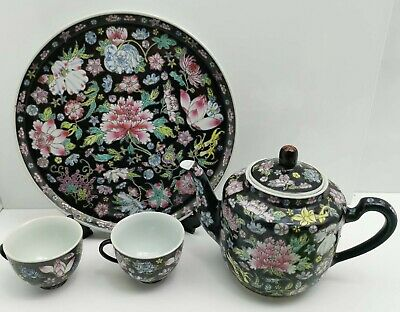 Chinese Teapot Tea Cups Tray Set Black Famille Rose • 24.99£