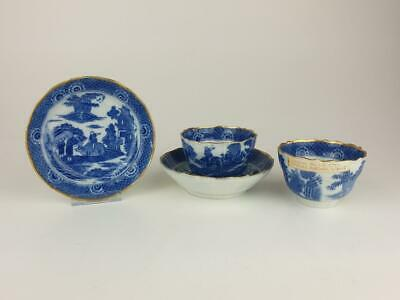Fine Pair English Antique Tea Bowls & Saucers, Spode Or Longton Hall • 9.99£