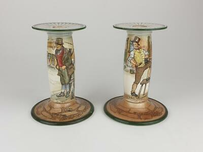 Antique Pair Of Royal Doulton Dickens Ware Candle Sticks 7227, Weller, Sykes • 9.99£