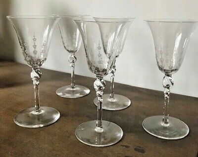 James Powell Whitefriars Arts Crafts Wine Glasses Etched X 5 • 99£