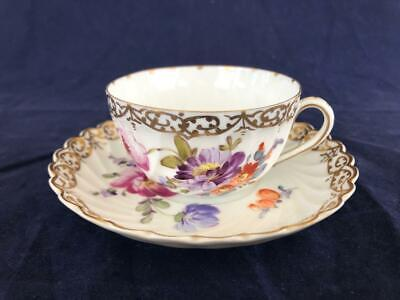 Good Antique Nymphenburg Dresden Porcelain Hand Painted Cup And Saucer. • 9.99£