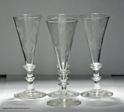 Set Of Four Hand-blown Georgian-style, Hop And Barley Engraved Ale Glasses • 5£