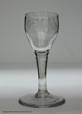 Georgian, English, Engraved Plain Stem Small Wine Or Cordial Glass • 85£