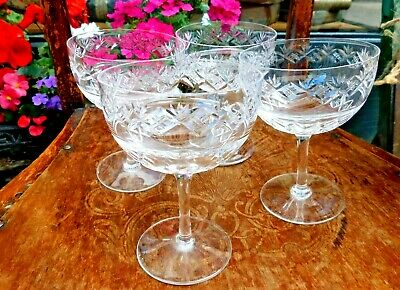Vintage Champagne Coupes / Richardson 1930's Champagne Coupes / Set Of 4 • 54.99£