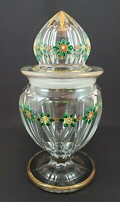 Vintage Heisey Glass Enamel Decorated Fruit Jar With Cover • 95.53£