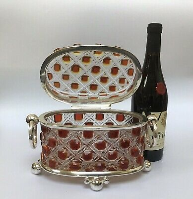 Huge Baccarat Style Hobnail Glass Casket Amberina Cut To Clear A1 EPNS  Mount • 600£