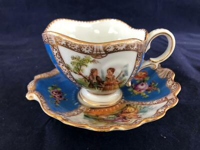Good Antique Dresden Watteau Porcelain Hand Painted Cup And Saucer. • 51£