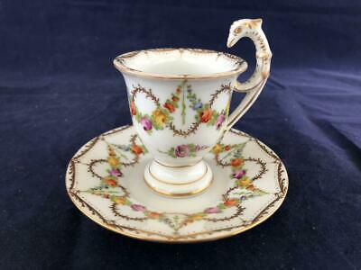 Good Antique Dresden Porcelain Hand Painted Cup And Saucer. • 27£