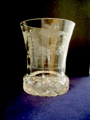 Antique Socle Etched Glass Franz Anton Riedel 1820 Bohemia Sockelbecker German • 180£