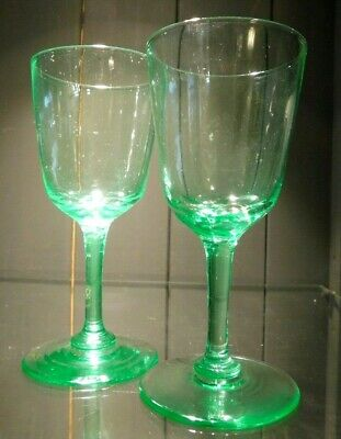 Vintage Uranium Glass Sherry Glasses / Pair Of Green Sherry Glasses • 10£