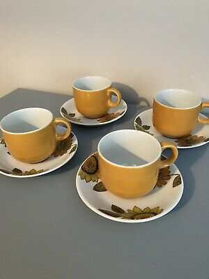 Alfred Meakin Vintage Sunflowers  4 Cups And Saucers  • 25£