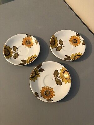 Alfred Meakin Vintage Sunflowers 3 Spare Saucers • 15£