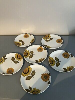Alfred Meakin Vintage Sunflowers 6 Side Plates • 25£
