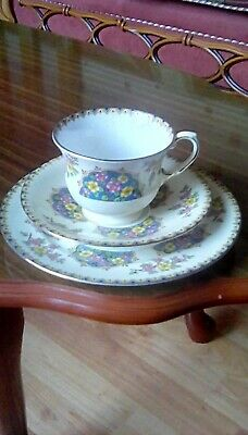 Aynsley China Trio Teacup Saucer And Side Plate, Colourful Flowers Decoration. • 5.30£
