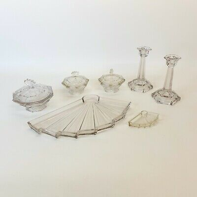 Art Deco Glass Dressing Table Set - Great Condition! - Unknown Origin - Vintage? • 0.99£