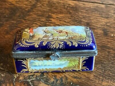 Rare Antique Sevres Blue And Gold Embossed Trinket Box • 195£