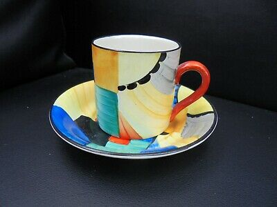 A Susie Cooper Tankard Shape Coffee Can & Saucer In CUBIST Pattern. • 210£