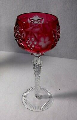 NACHTMANN Crystal TRAUBE Pattern Tall Hock Wine Goblet - 8-1/4  - Red • 39.20£